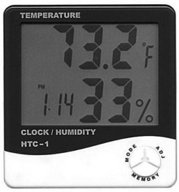 HTC Digital Hygrometer Humidity Meter with clock 1 Thermometer