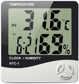 Lavelle Pharma Humidity Temperature Clock Digital Smart Thermometer(White)