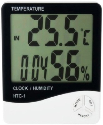 Balrama HTC1 Hygrometer Humidity Meter with Temp and Clock Display Digital Thermometer(White, Black)