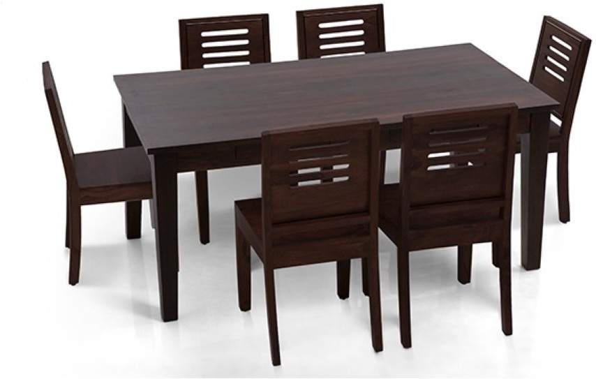 View Home Edge Solid Wood 6 Seater Dining Set(Finish Color - Walnut Light Polish) Price Online(Home Edge)