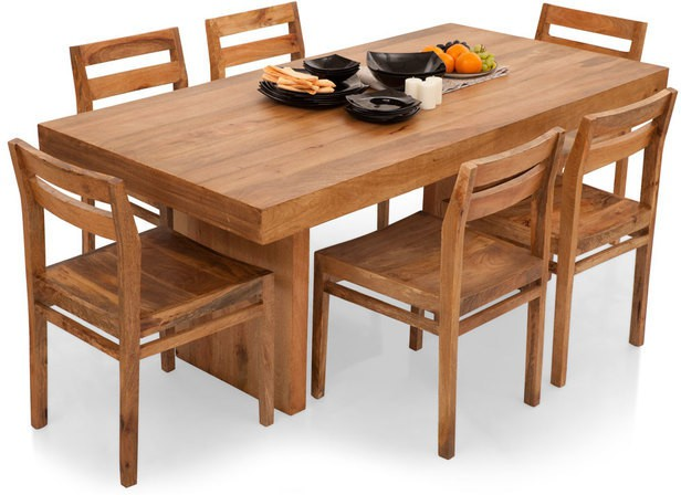 View TheArmchair Jordan-Barcelona Solid Wood 6 Seater Dining Set(Finish Color - Natural) Furniture (TheArmChair)