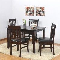 @home by Nilkamal Malmo Solid Wood 4 Seater Dining Set(Finish Color - Black)