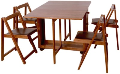 HomeTown Compact Folding Solid Wood Dining Set