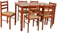 Housefull Solid Wood 6 Seater Dining Set(Finish Color - OAK)