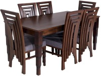 Evok Breeta Solid Wood 6 Seater Dining Set(Finish Color - Walnut)