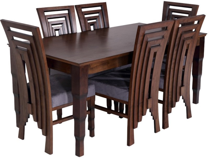 3c649dda3c0 Buy Evok Breeta Solid Wood 6 Seater Dining Set(Finish Color - Walnut)  Online at Low Prices in India