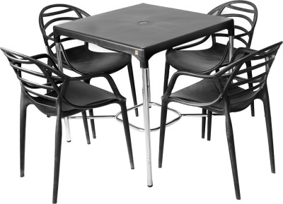 Cello Plastic Dining Set(Finish Color - Black)