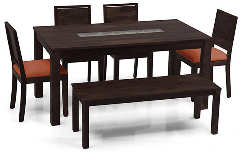 View Urban Ladder Brighton - Oribi - Bench Solid Wood 6 Seater Dining Set(Finish Color - Mahogany) Price Online(Urban Ladder)