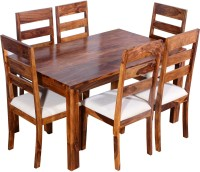 Ringabell Desire Six Seater Solid Wood 6 Seater Dining Set(Finish Color - Teak)