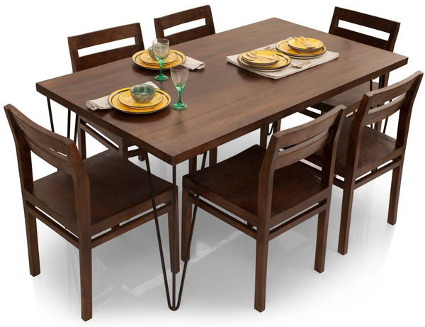 View TheArmchair Oslo-Barcelona Solid Wood 6 Seater Dining Set(Finish Color - Walnut) Furniture (TheArmChair)