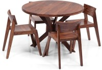 Home Edge Solid Wood 4 Seater Dining Set(Finish Color - Provincial Teak)