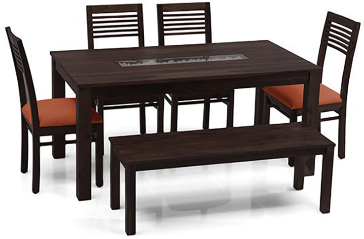 View Urban Ladder Brighton - Zella - Bench Solid Wood 6 Seater Dining Set(Finish Color - Mahogany) Price Online(Urban Ladder)