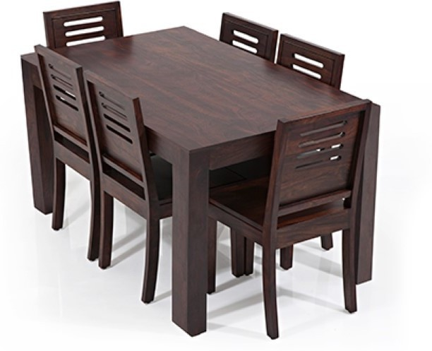 View Ethnic Handicrafts Solid Wood Dining Set(Finish Color - Walnut Light Polish) Furniture (Ethnic Handicrafts)