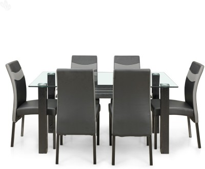 Royal Oak Aqua Glass Dining Set(Finish Color - Dark)