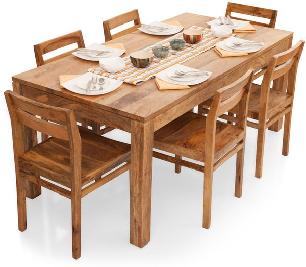 View TheArmchair Gresham-Barcelona Solid Wood 6 Seater Dining Set(Finish Color - Natural) Furniture (TheArmChair)