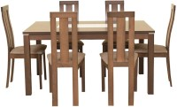 HomeTown Delton Solid Wood 6 Seater Dining Set(Finish Color - Brown)