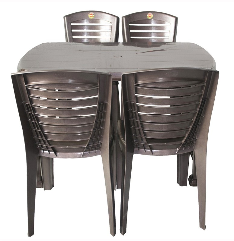 Cello Plastic Dining Set(Finish Color - I Brown)