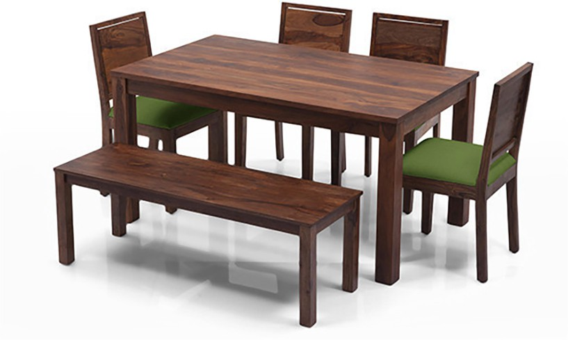 View Urban Ladder Arabia - Oribi - Bench Solid Wood 6 Seater Dining Set(Finish Color - Teak) Price Online(Urban Ladder)