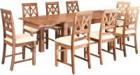 @home by Nilkamal Festo Solid Wood 8 Seater Dining Set(Finish Color - Brown)