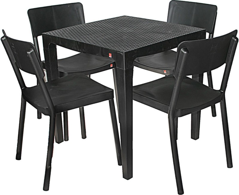 Cello Plastic Dining Set(Finish Color - Black)