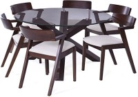 Urban Ladder Matheson - Thomson Solid Wood 6 Seater Dining Set(Finish Color - Dark Walnut)