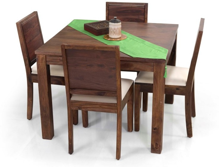 View Home Edge Solid Wood 4 Seater Dining Set(Finish Color - Light Brown Polish) Furniture (Home Edge)