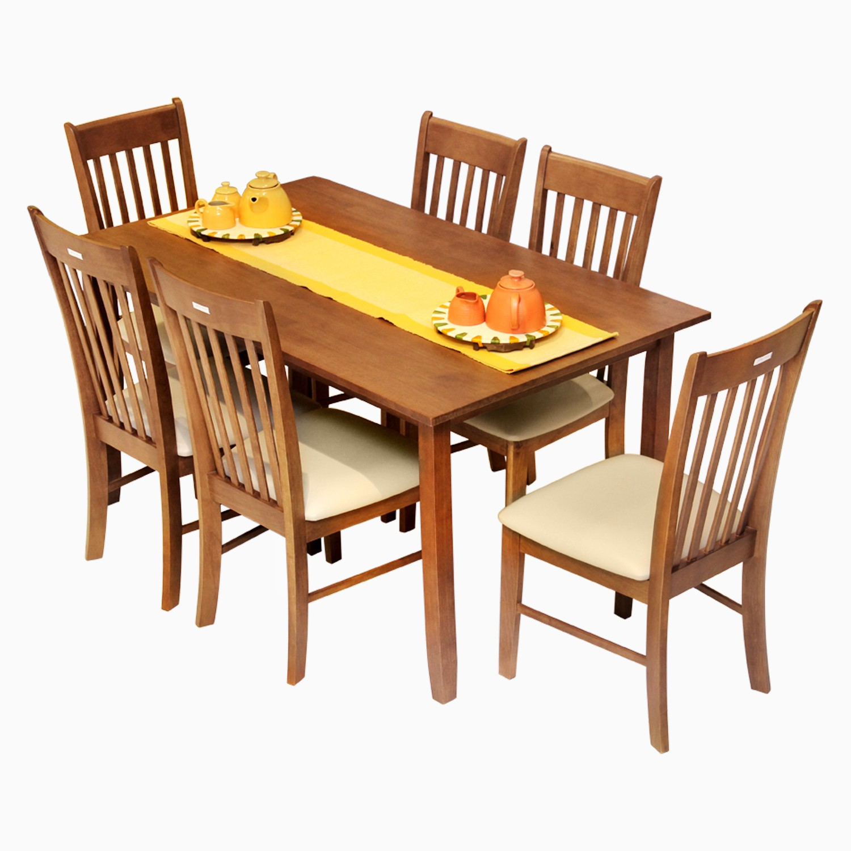 Godrej Interio Alicica & Venus Dining Set Engineered Wood 6 Seater Dining Set(Finish Color - Walnut)