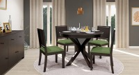 Urban Ladder Liana Round - Oribi Solid Wood 4 Seater Dining Set(Finish Color - Mahogany)