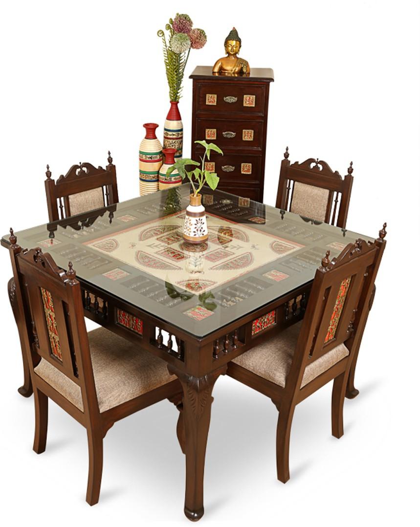 ExclusiveLane Teak Wood Solid Wood Dining Set class=