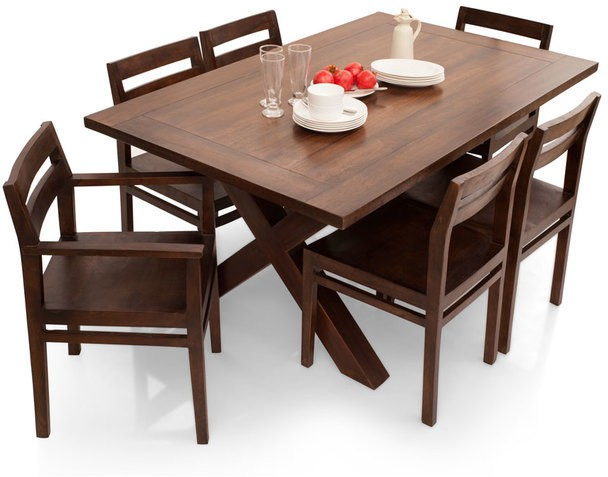 View TheArmchair Clovis-Barcelona Solid Wood 6 Seater Dining Set(Finish Color - Walnut) Furniture (TheArmChair)