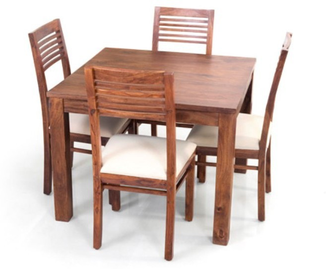 View Home Edge Solid Wood 4 Seater Dining Set(Finish Color - Honey Dark Polish) Price Online(Home Edge)