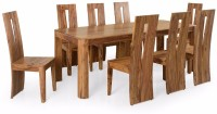 @home by Nilkamal Granada Solid Wood 8 Seater Dining Set(Finish Color - Natural Walnut)