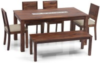 Urban Ladder Brighton - Oribi - Bench 6 Seater Solid Wood 6 Seater Dining Set(Finish Color - Teak)