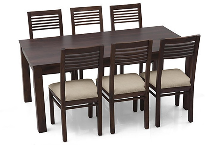 View Urban Ladder Arabia XL - Zella Solid Wood 6 Seater Dining Set(Finish Color - Mahogany) Price Online(Urban Ladder)