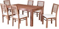 @home by Nilkamal Dortmund Solid Wood 6 Seater Dining Set(Finish Color - Brown)