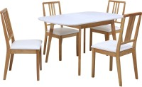 @home by Nilkamal Mainland Solid Wood 4 Seater Dining Set(Finish Color - Light Oak)