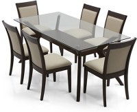 Urban Ladder Wesley - Dalla Solid Wood 6 Seater Dining Set(Finish Color - Dark Walnut)