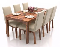 Urban Ladder Malabar XL (With Brass Inlay) Solid Wood 6 Seater Dining Set(Finish Color - Teak)
