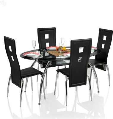 Royal Oak Roger Metal Dining Set(Finish Color - Black)