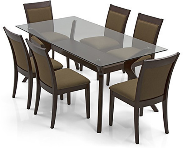 View Urban Ladder Wesley - Dalla Solid Wood 6 Seater Dining Set(Finish Color - Dark Walnut) Price Online(Urban Ladder)