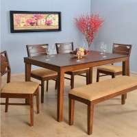 @home by Nilkamal Olenna Solid Wood 6 Seater Dining Set(Finish Color - Walnut)