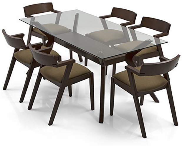 View Urban Ladder Wesley - Thomson Solid Wood 6 Seater Dining Set(Finish Color - Dark Walnut) Price Online(Urban Ladder)