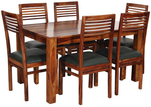 View Home Edge Solid Wood 6 Seater Dining Set(Finish Color - Provincial Teak) Price Online(Home Edge)