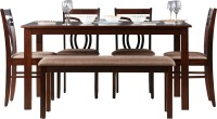 HomeTown Stella Solid Wood 6 Seater Dining Set(Finish Color - Dark Walnut)