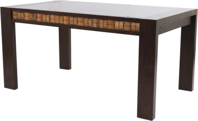 Evok Venice Solid Wood 6 Seater Dining Table(Finish Color - Walnut)