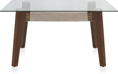 @home by Nilkamal Symphony Metal 6 Seater Dining Table(Finish Color - Walnut)