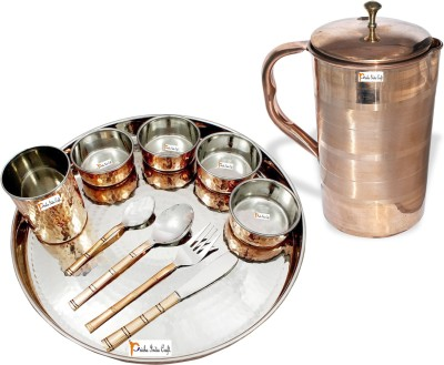 Prisha India Craft Indian Traditional Dinnerware Stainless Steel Copperware Thali Set - Diameter 13 Inch Pack of 11 Dinner Set