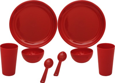 Cutting Edge 8 Pc Microwaveable Dinner Set Round For 2 DSsq6_R (Polypropylene, Red) Pack of 8 Dinner Set