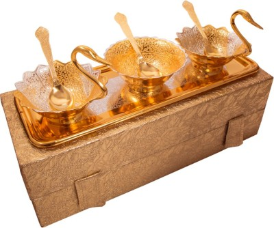 Adiidev Silver And Gold Plated Two Duck and One Round Bowls Tray Set Pack of 7 Dinner Set(Brass) at flipkart