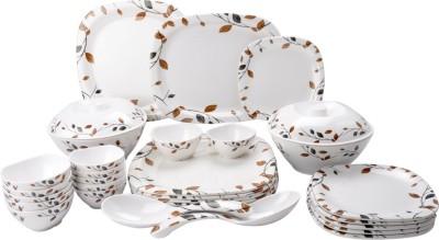 Mehul Glazed Melamine D-4001 Royal Leaf 31 Pcs Pack of 31 Dinner Set
